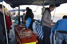 Fishermen preparing them