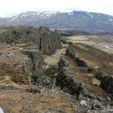 View on Þingvellir and Almannagjá Walking next to the Almannagjá that served as echo wall
