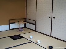 Tatami, tea bowls and tea preparation space